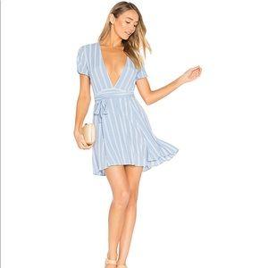 Privacy Please Minden Dress Blue Stripe Deep V M